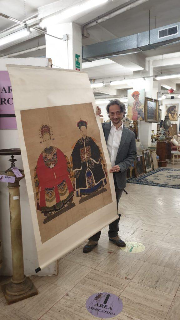 valutazione di arte cinese dipinto su carta di riso. Cina XVIII secolo